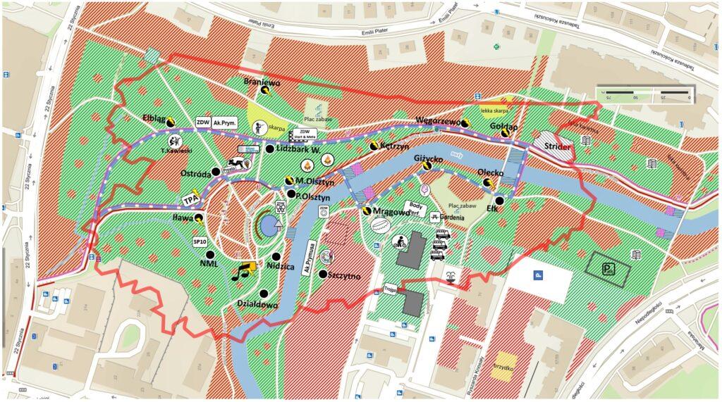 Mapa Parku Centralnego ze stoiskami